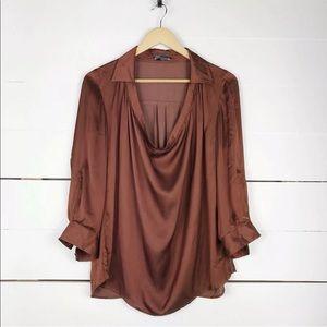 Vince silk drape blouse